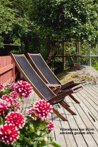 Badliv i trädgården vilstolar på trädäck