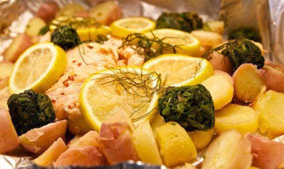 grilla lax med potatis