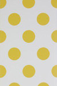 tapet vit med gula prickar
