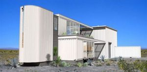 Hus av container Mojaveöknen fasad