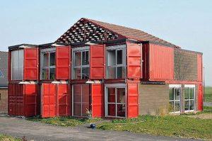 Hus av container franskt tvåvåningshus fasad
