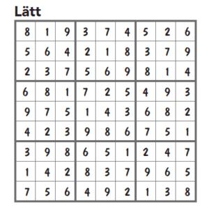 Sudoku FACIT lätt nr 1 2016