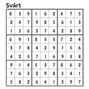Sudoku FACIT svårt nr 1 2016