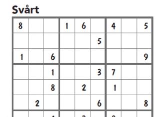 sudoku svårt nr 1 2016