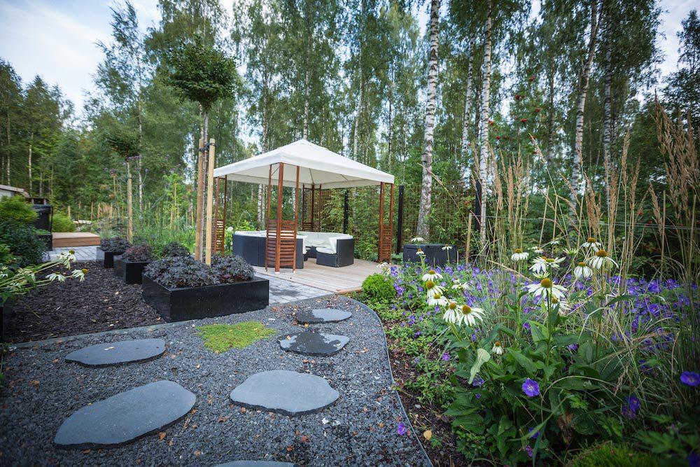 utomhusspa annan vy av trädgården