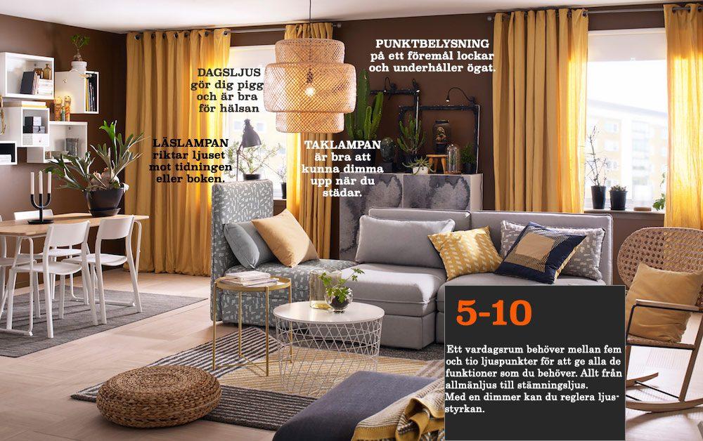Lampbelysning - exempel i vardagsrum