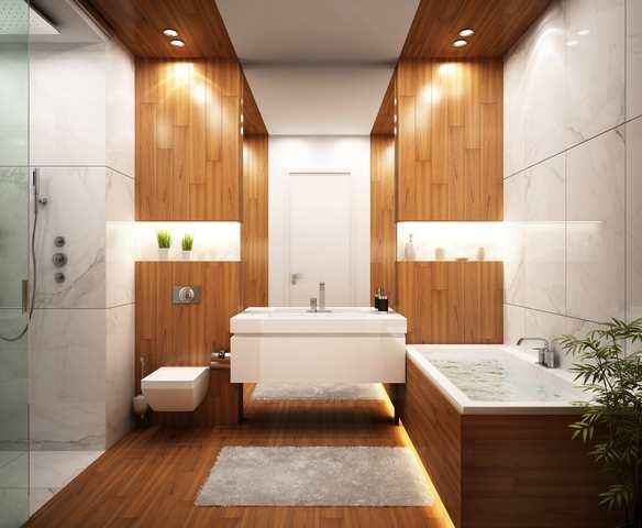 Lyxiga och moderna badrum - träpaneler