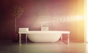 Bright Sunlight Streaming Through Window of Modern Bathroom with Contemporary Free Standing Bathtub with Potted Plant
