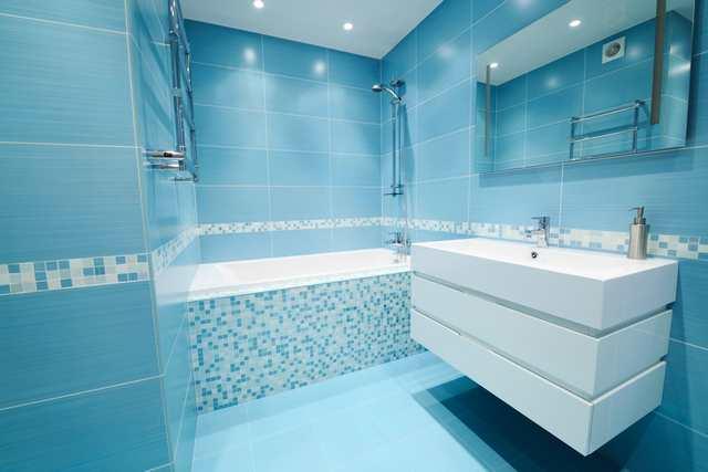 Retro badrum - blått badrum