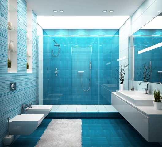 Retro badrum - blå inredning